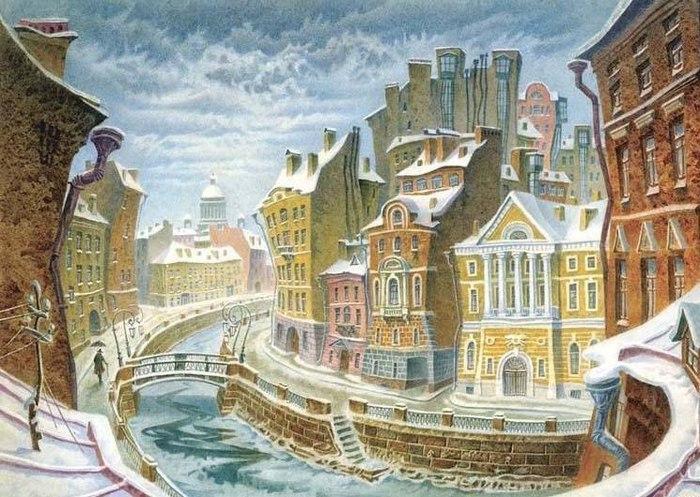 Акварельный Петербург Владимира Колбасова (700x497, 116Kb)