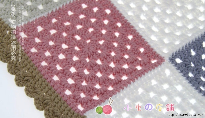 Детский плед и подушка крючком бабушкиными квадратами (7) (670x388, 170Kb)