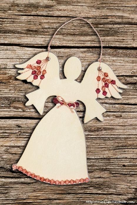 Рождественские ангелы - подвески из картона (4) (466x700, 359Kb)