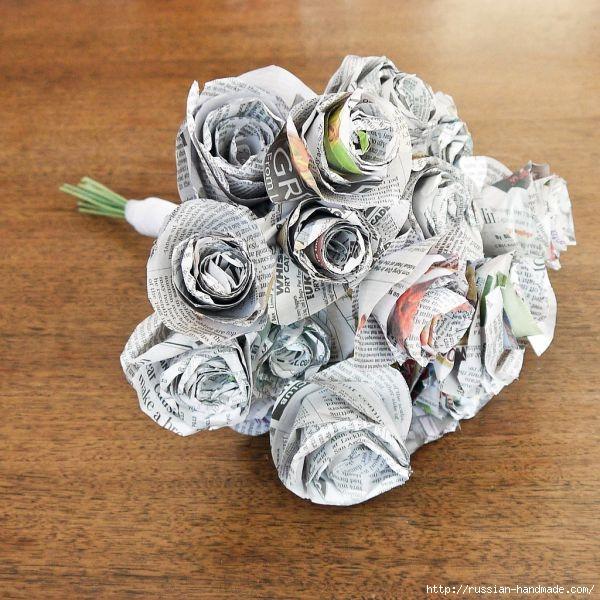 Как из газет сделать букет цветов (1) (600x600, 240Kb)