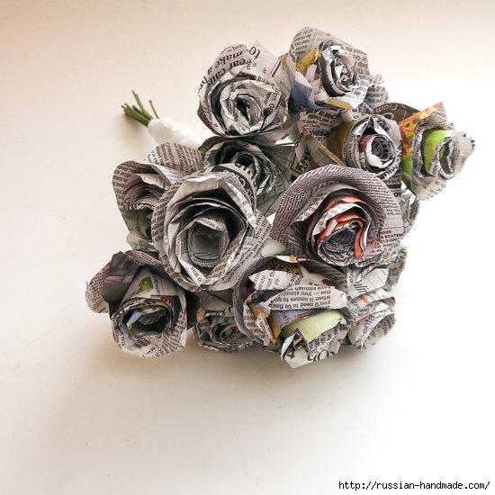 Как из газет сделать букет цветов (11) (550x550, 166Kb)