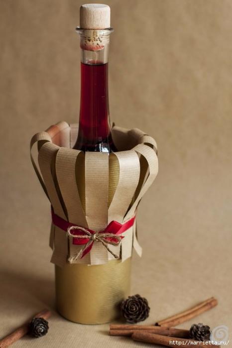 Подарочная упаковка из бумаги для бутылки спиртного (9) (466x700, 155Kb)