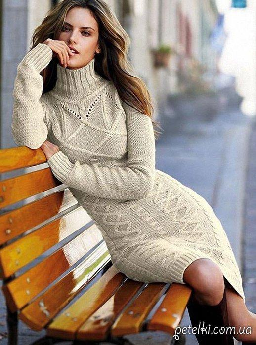 Теплое платье спицами фото 99-934