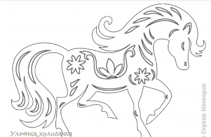 Вытынанки схемы лошади