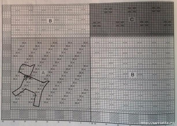 Красивый двухцветный узор для вязания крючком пледа и коврика (8) (613x439, 236Kb)