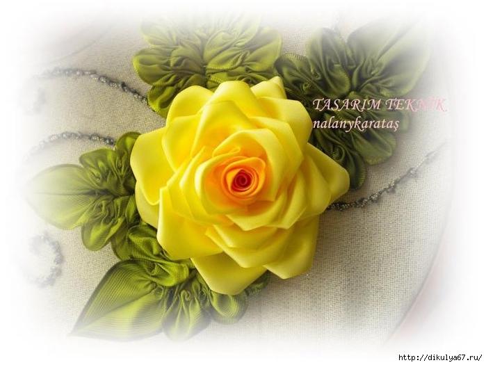 Роза из лент. Мастер-класс