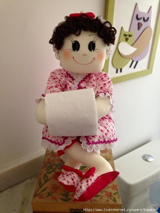 Сшить держатель в виде куклы для туалетной бумаги 72