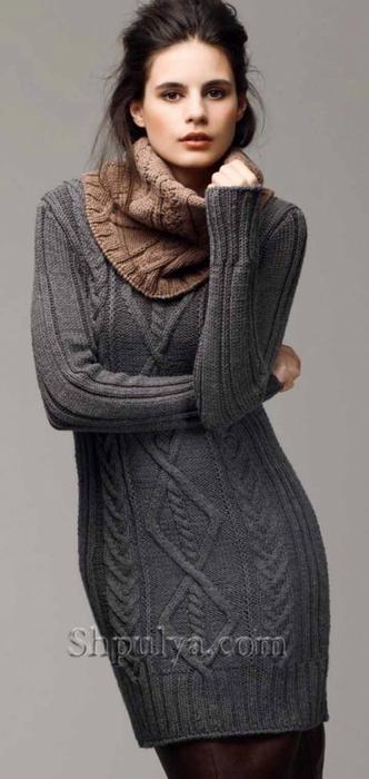 Вязание для женщин спицами платье с косами