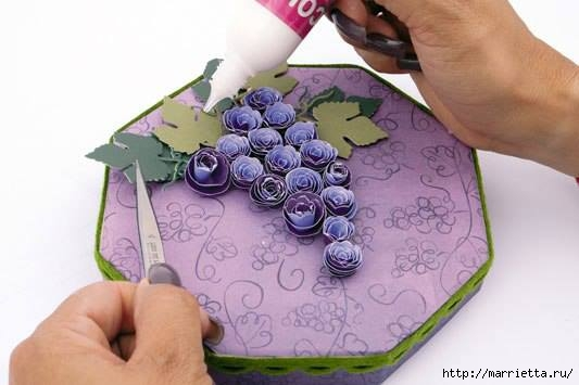 ПОДАРОЧНАЯ ВИННАЯ КОРОБКА. Виноград из бумаги (1) (533x355, 83Kb)