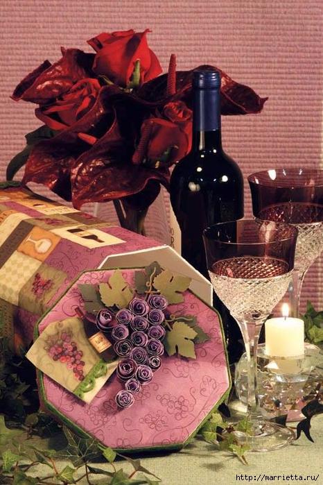 ПОДАРОЧНАЯ ВИННАЯ КОРОБКА. Виноград из бумаги (3) (466x700, 300Kb)