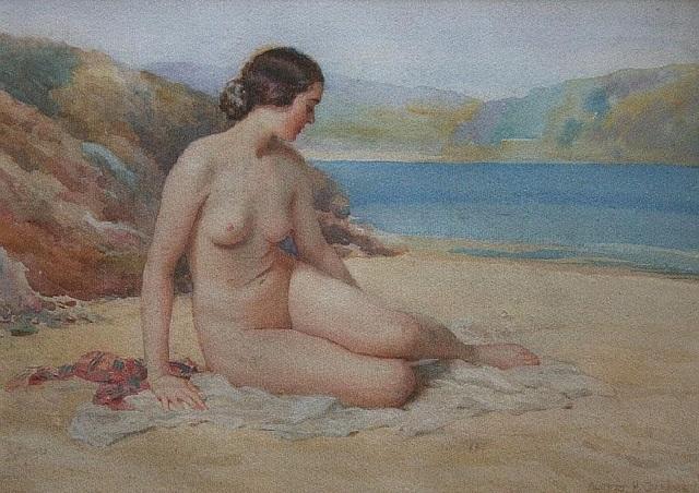 Обнаженная на пляже. Акварель и карандаш (640x452, 334Kb)