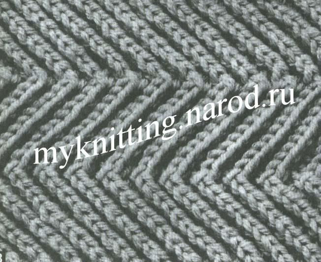 Резинка зигзаг спицами схема вязания