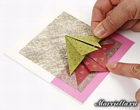 Новогодняя открытка с елочкой в технике оригами (6) (483x378, 128Kb)