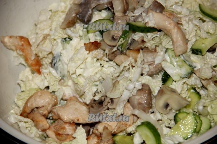 Салаты с куриной грудкой и грибами рецепты с простые и вкусные