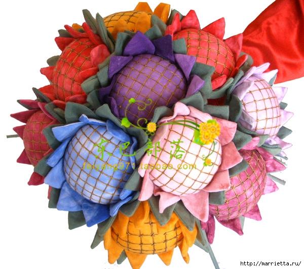 цветы подсолнуха из ткани (3) (600x531, 244Kb)