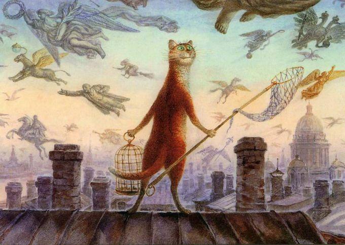 коты в искусстве Владимир Румянцев петербургские коты 1 (680x483, 277Kb)