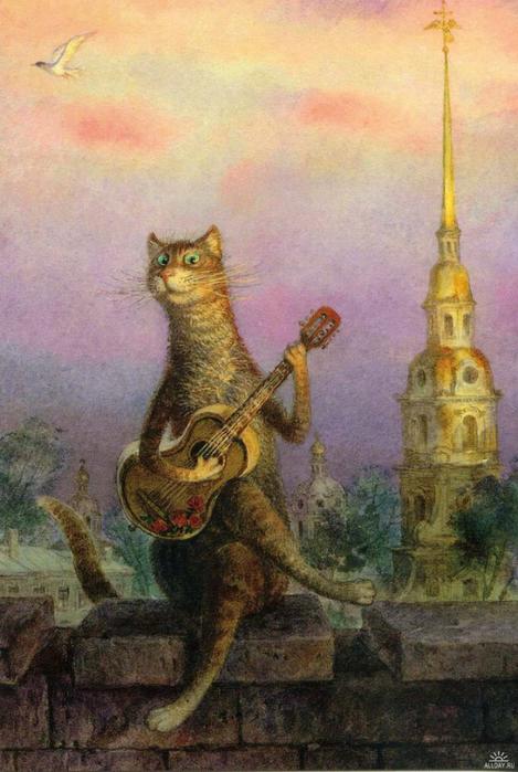 коты в искусстве Владимир Румянцев петербургские коты 2 (469x700, 363Kb)