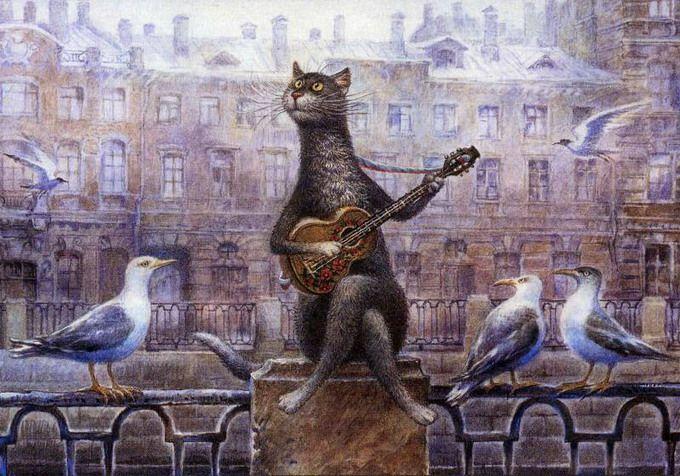 коты в искусстве Владимир Румянцев петербургские коты 3 (680x476, 308Kb)