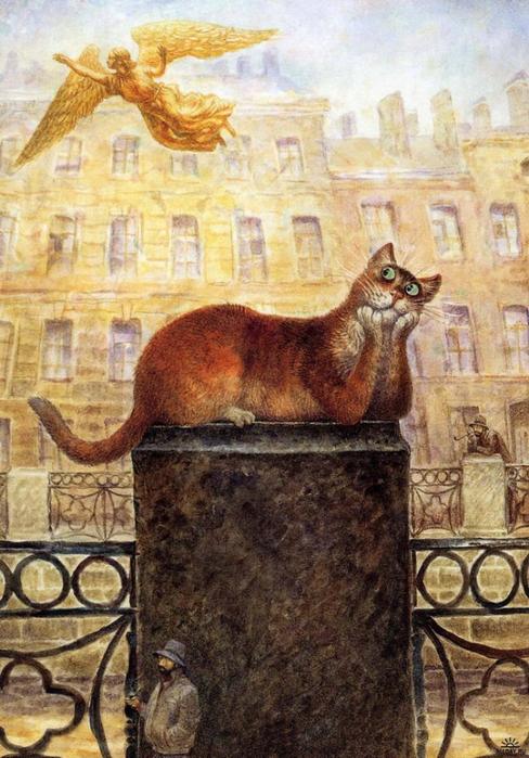 коты в искусстве Владимир Румянцев петербургские коты 7 (488x700, 420Kb)