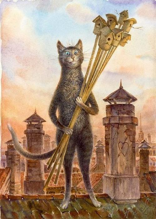 коты в искусстве Владимир Румянцев петербургские коты 14 (498x700, 376Kb)