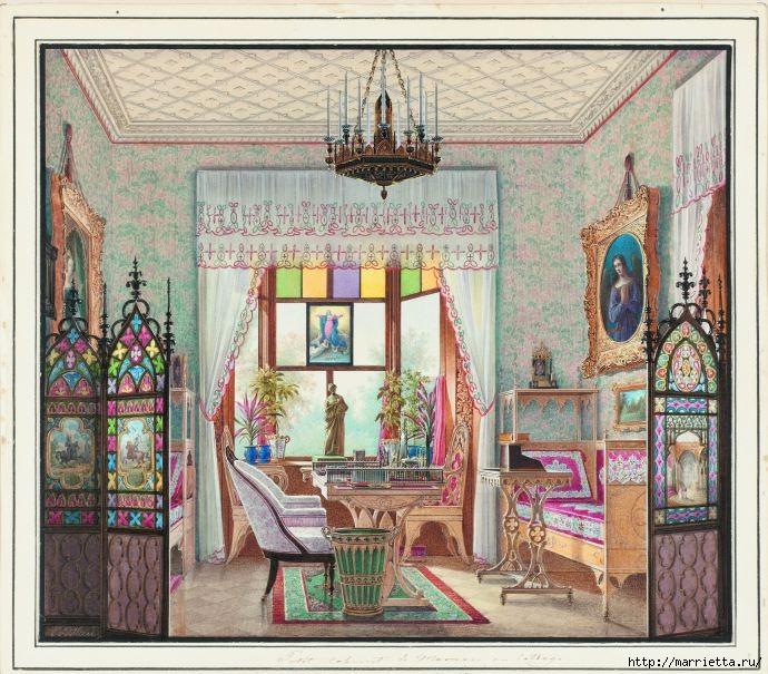 Дизайн интерьера. Романтика 19-го века. Акварель (28) (690x605, 297Kb)