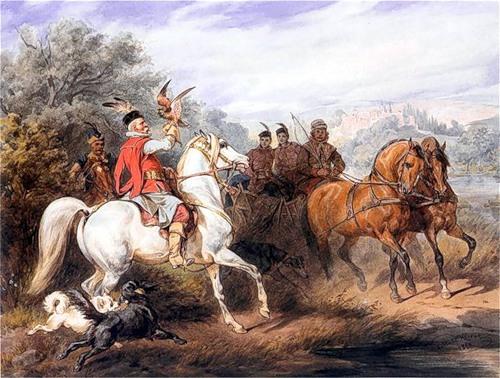 Юлиуш Коссак Выезд на охоту с соколом 1868 г (500x378, 234Kb)