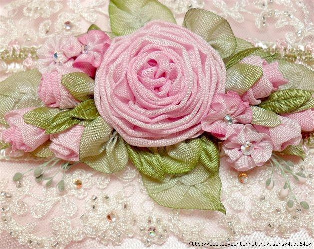 Цветы в стиле шебби шик из ткани