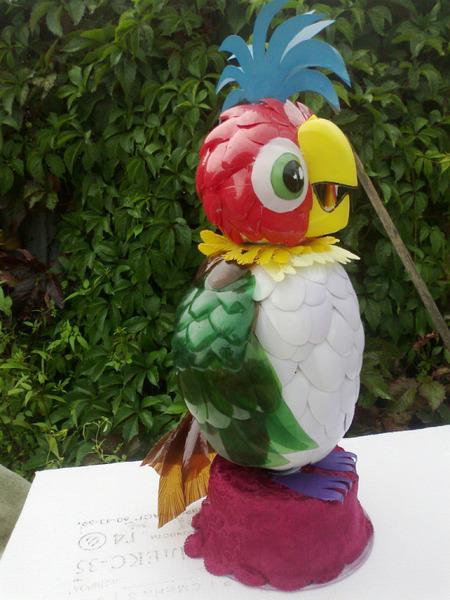 попугай из пластиковых бутылок пошаговая инструкция с фото