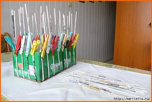 Плетение из газет. Оплетаем коробку (4) (500x335, 123Kb)