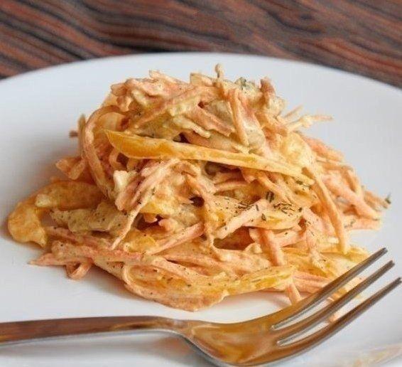 Салат с курицей, перцем и морковью (566x516, 52Kb)