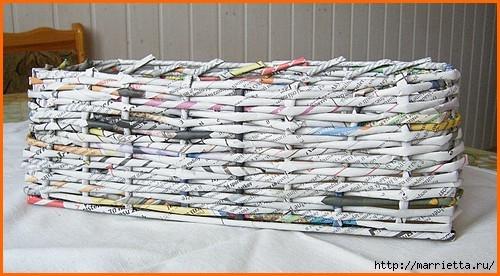Плетение из газет. Оплетаем коробку (8) (500x276, 132Kb)