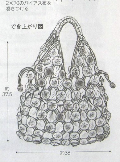 Сумочка из полосок ткани и цветочков йо-йо (7) (389x522, 174Kb)