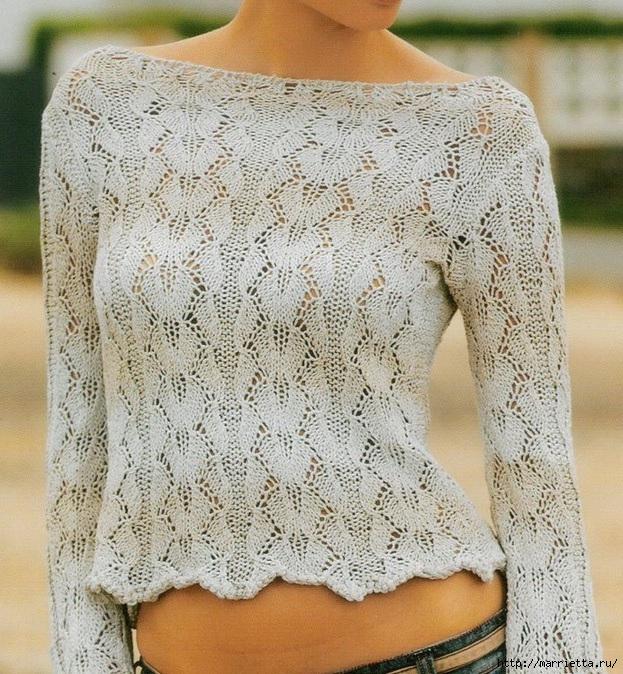 Летний ажурный пуловер спицами (1) (623x674, 374Kb)