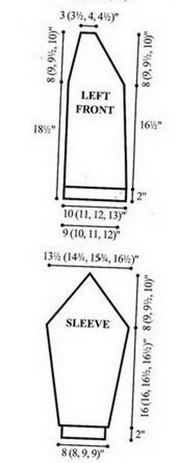 Жакет спицами. Схема узора (1) (268x666, 61Kb)