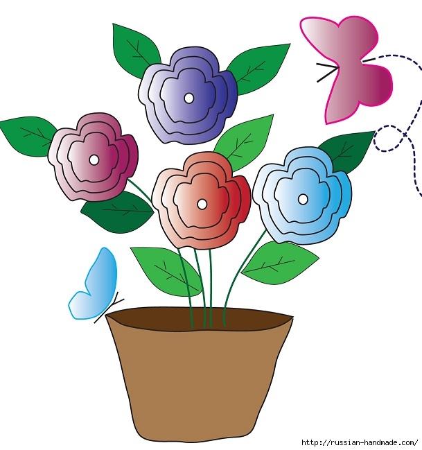 Цветы крючком для украшения сумки (3) (609x649, 155Kb)