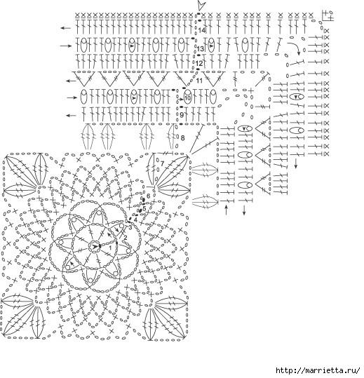 Квадратные мотивы крючком для покрывала (4) (519x539, 177Kb)