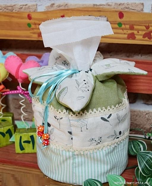 Bolsa de la materia textil por un rollo de papel higiénico.  Cosa ti mismo (4) (512x629, 200Kb)