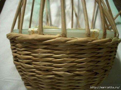 Плетение из газет. Мастер-классы по плетению корзинок и вазочек (9) (496x372, 102Kb)