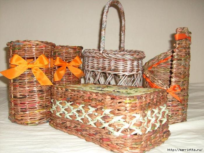 Плетение из газет. Мастер-классы по плетению корзинок и вазочек (26) (700x525, 314Kb)