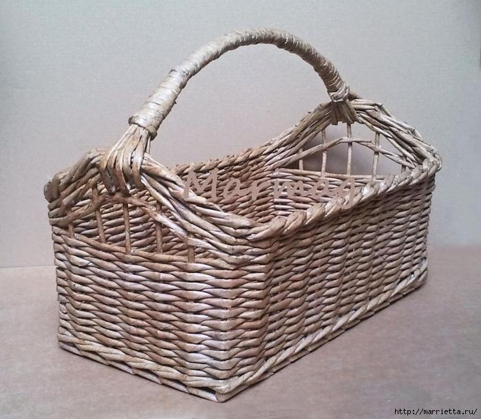Плетение из газет. Мастер-классы по плетению корзинок и вазочек (30) (700x609, 307Kb)
