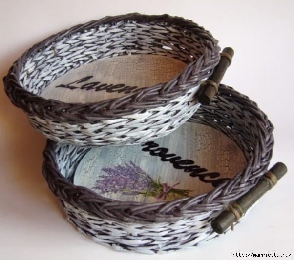 Плетение из газет. Мастер-классы по плетению корзинок и вазочек (36) (602x533, 174Kb)