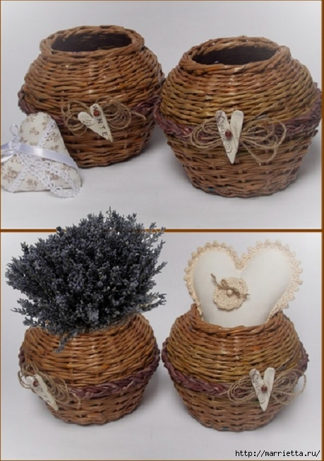 Плетение из газет. Мастер-классы по плетению корзинок и вазочек (40) (459x652, 186Kb)