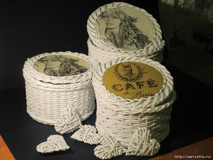 Плетение из газет. Мастер-классы по плетению корзинок и вазочек (44) (700x525, 244Kb)