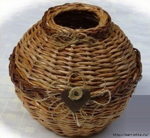 Плетение из газет. Мастер-классы по плетению корзинок и вазочек (52) (509x468, 147Kb)