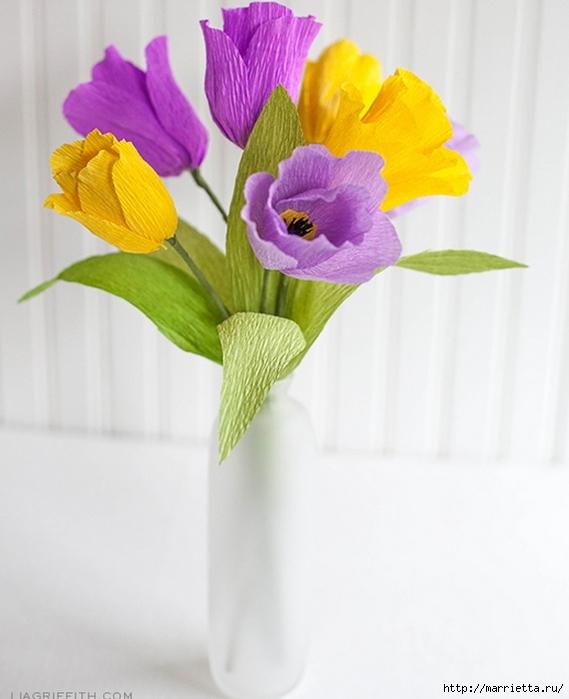 Тюльпаны из гофрированной и офисной бумаги. Мастер-классы (3) (569x700, 186Kb)