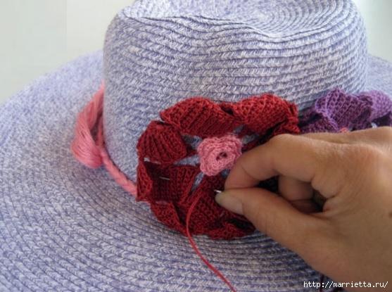 Цветы крючком для украшения летней шляпки (4) (557x415, 163Kb)