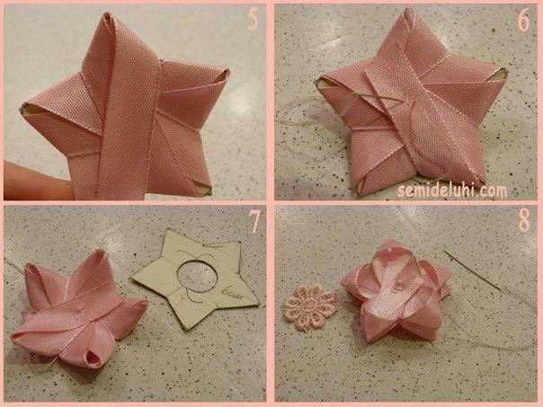 Как сделать звезду из атласной ленты