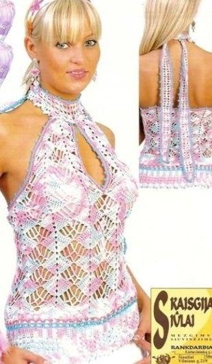 88knitting women knitting needles, crochet tops patterns schema description (310x532, 106Kb)