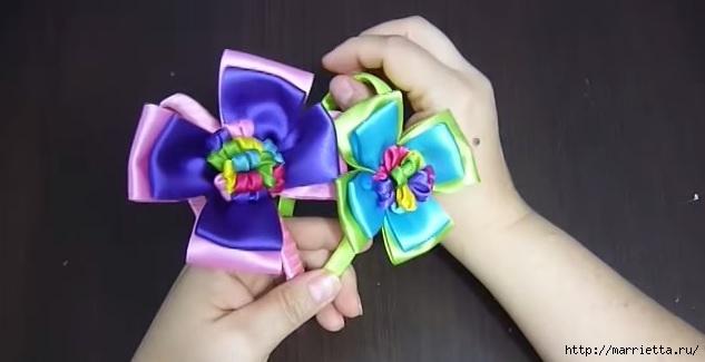 Цветы из атласных лент для украшения ободка (1) (633x325, 80Kb)