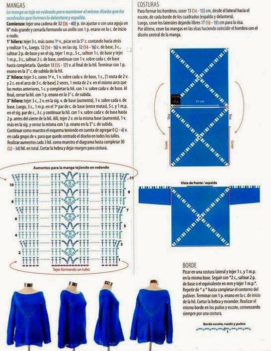 """钩针:""""蓝色的广场衫"""" - maomao - 我随心动"""